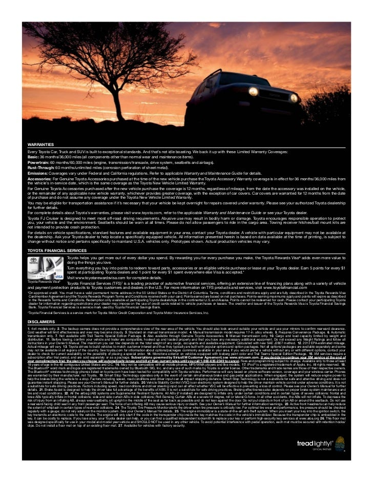 2012 Toyota Fj Cruiser Brochure In Tampa Florida Dealer