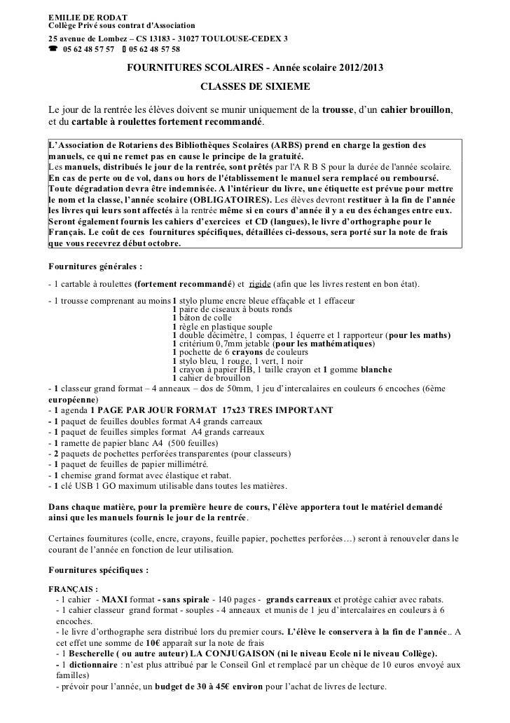 EMILIE DE RODATCollège Privé sous contrat dAssociation25 avenue de Lombez – CS 13183 - 31027 TOULOUSE-CEDEX 3 05 62 48 57...