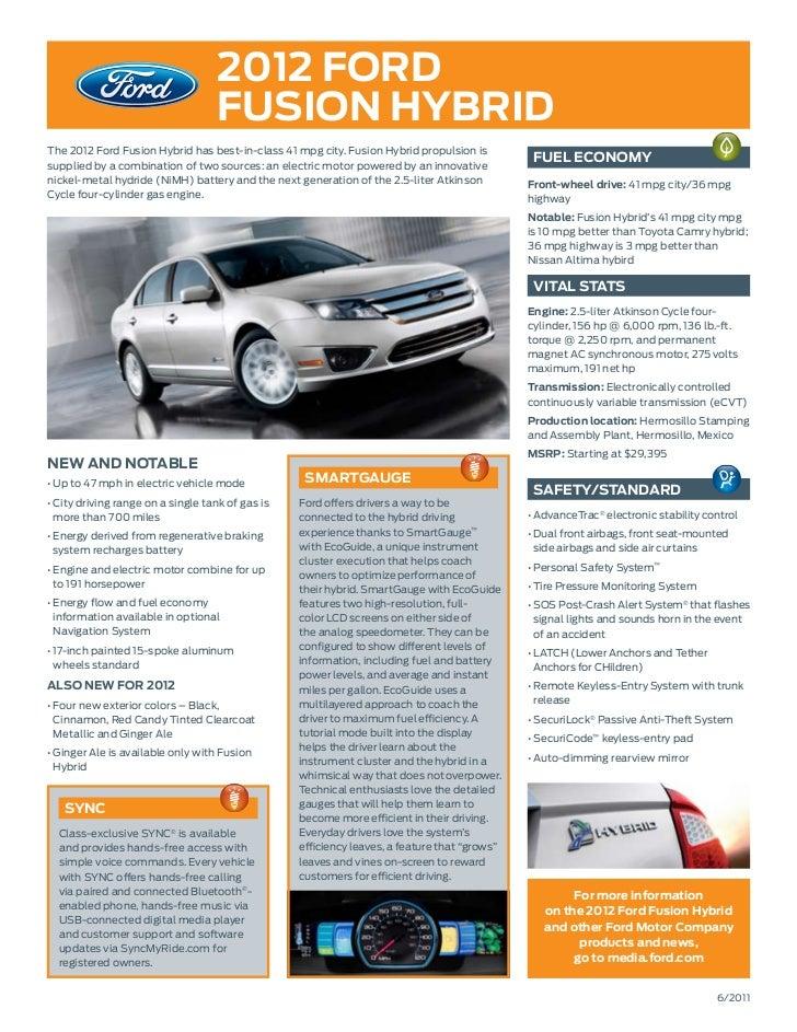 Syncmyride Com Register Ford >> 2012 Fusion Hybrid