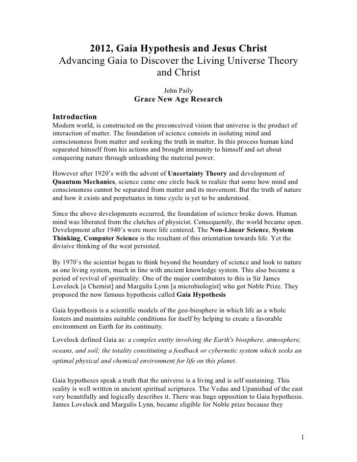 2012, Gaia Hypothesis and Jesus Christ   Advancing Gaia to Discover the Living Universe Theory                        and ...
