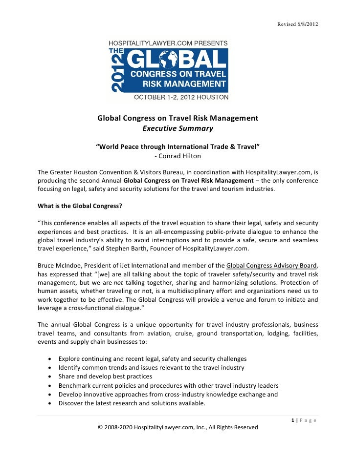 Revised 6/8/2012                     Global Congress on Travel Risk Management                                Executive Su...