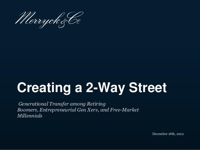 Creating a 2-Way StreetGenerational Transfer among RetiringBoomers, Entrepreneurial Gen Xers, and Free-MarketMillennials  ...
