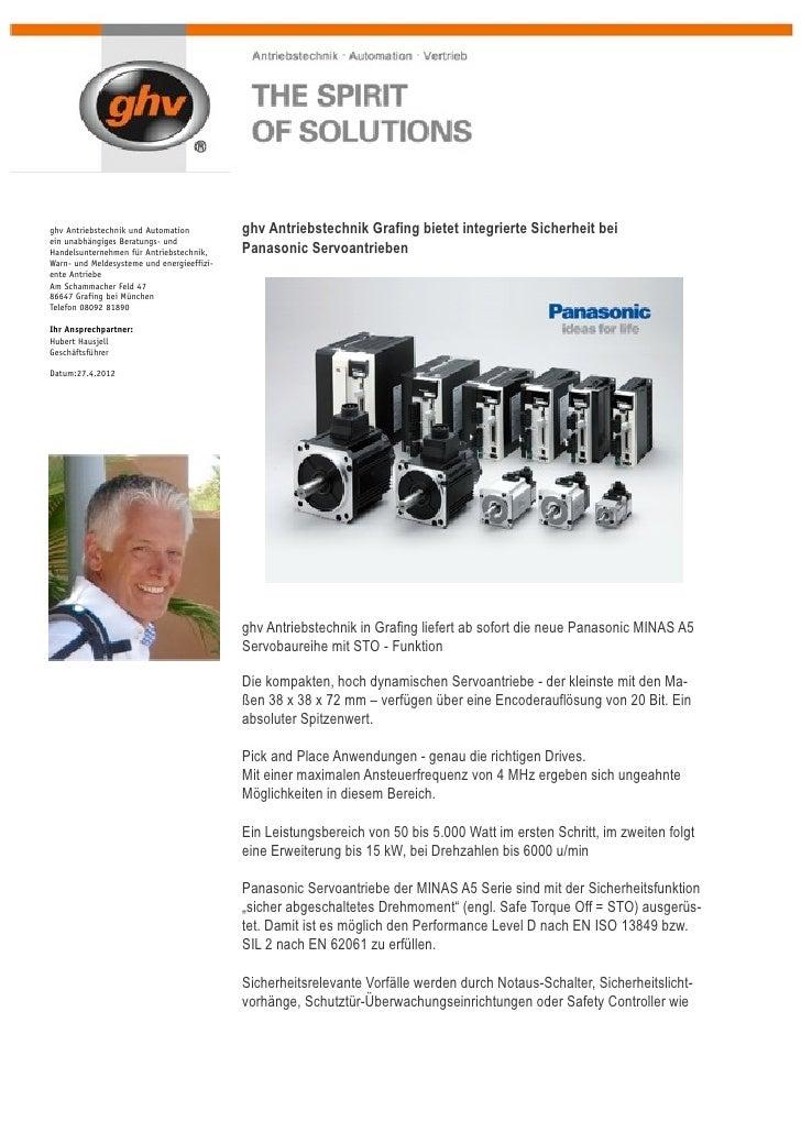 17.4.2012: Pressemeldung ghv-Antriebstechnik Grafing zu MINAS A5ghv Antriebstechnik und Automation          ghv Antriebste...
