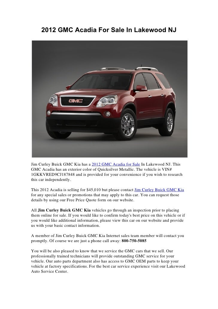 2012 gmc acadia for sale in lakewood nj slideshare