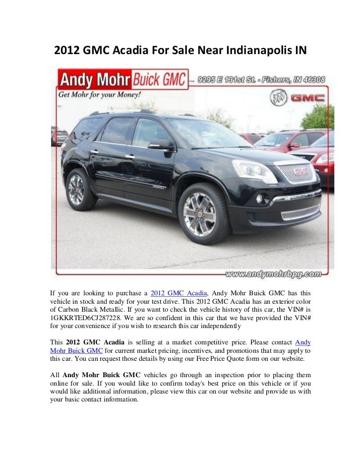 2012 gmc acadia for sale near indianapolis in. Black Bedroom Furniture Sets. Home Design Ideas