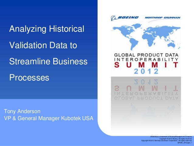 Analyzing Historical Validation Data to Streamline Business ProcessesTony AndersonVP & General Manager Kubotek USA        ...