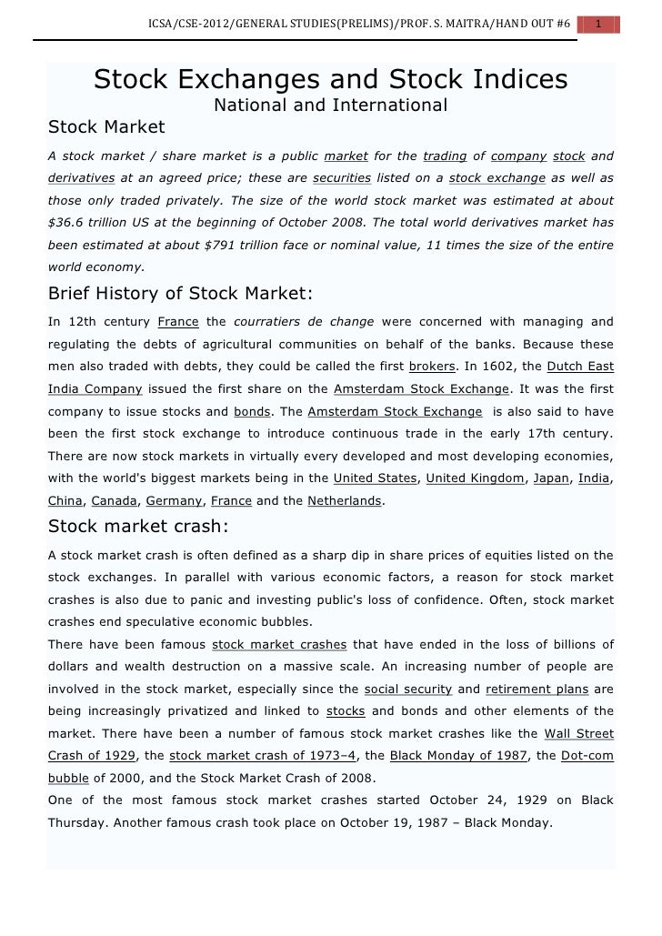 ICSA/CSE-2012/GENERAL STUDIES(PRELIMS)/PROF. S. MAITRA/HAND OUT #6       1       Stock Exchanges and Stock Indices        ...