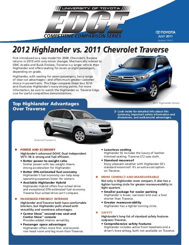 2012 highlander vs 2011 chevrolet traverse north. Black Bedroom Furniture Sets. Home Design Ideas
