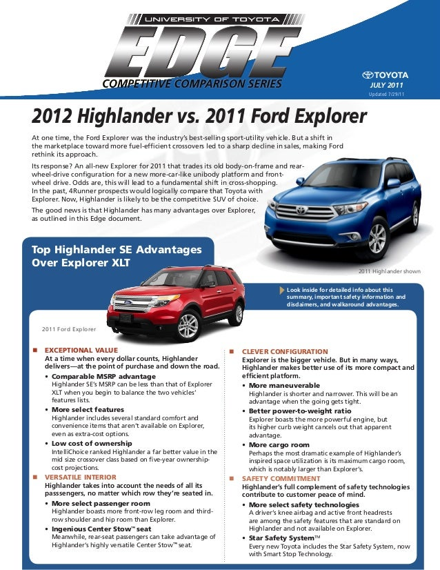 july 2011 Top Highlander SE Advantages Over Explorer XLT At one time, the Ford Explorer was the industry's best-selling sp...
