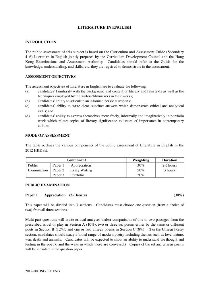 LITERATURE IN ENGLISHINTRODUCTIONThe public assessment of this subject is based on the Curriculum and Assessment Guide (Se...