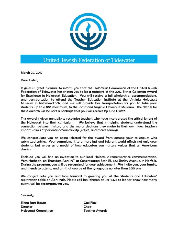 United Jewish Federation of TidewaterMarch 29, 2012Dear Helen,It gives us great pleasure to inform you that the Holocaust ...