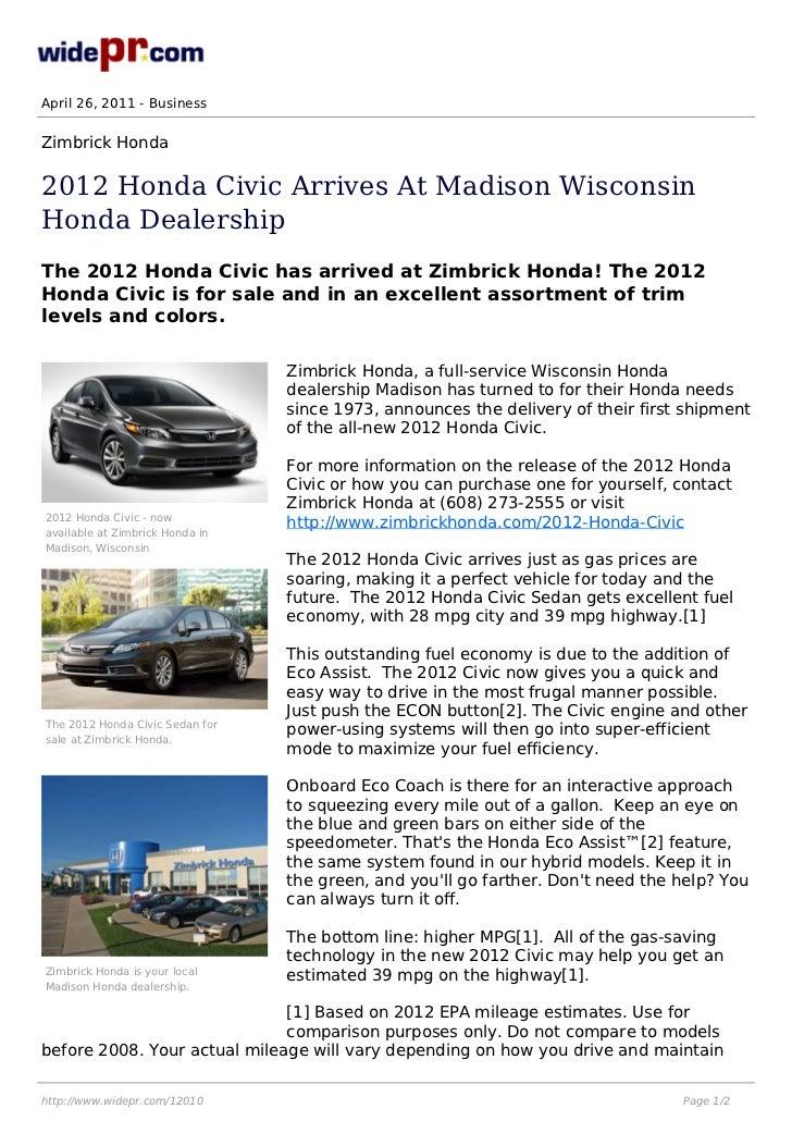 April 26, 2011   BusinessZimbrick Honda2012 Honda Civic Arrives At Madison  WisconsinHonda DealershipThe 2012 Honda ...