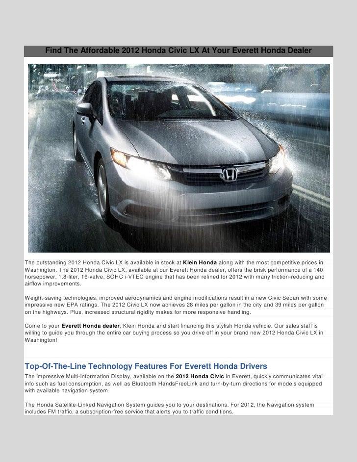 Honda Of Everett >> 2012 Honda Civic Lx At Klein Honda In Everett Wa