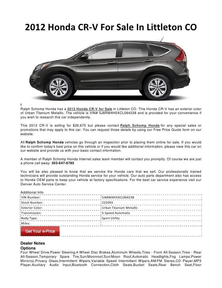 2012 Honda CR V For Sale In Littleton COtRalph Schomp Honda Has A 2012 Honda  ...