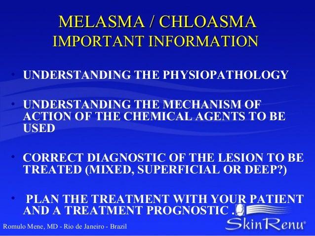 MELASMA / CHLOASMA                IMPORTANT INFORMATION  • UNDERSTANDING THE PHYSIOPATHOLOGY  • UNDERSTANDING THE MECHANIS...