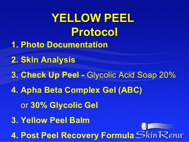 YELLOW PEEL             Protocol1. Photo Documentation2. Skin Analysis3. Check Up Peel - Glycolic Acid Soap 20%4. Apha Bet...