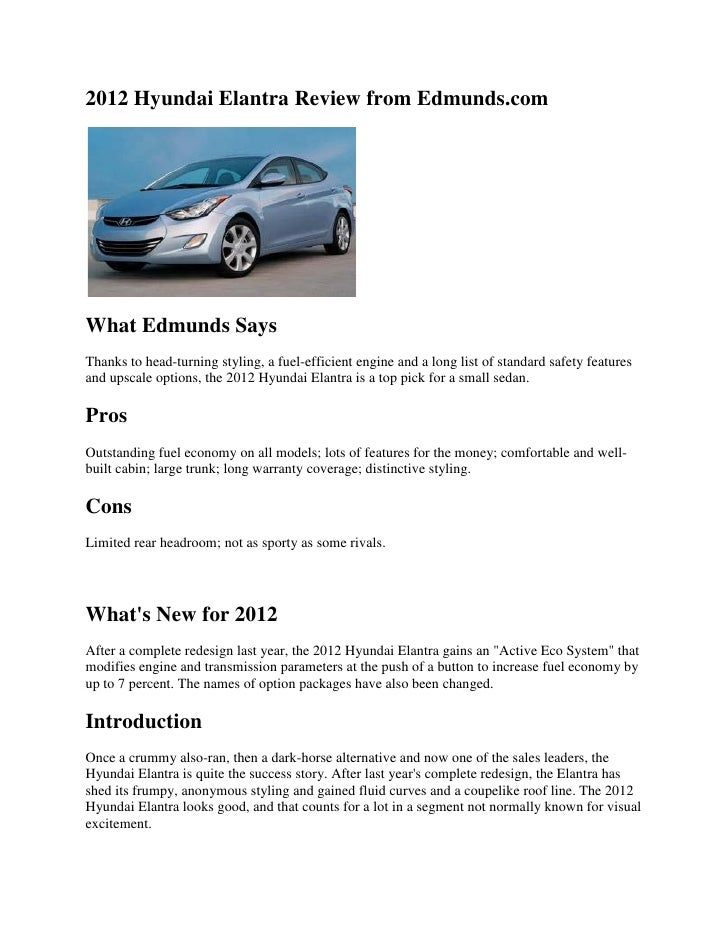 2012 Hyundai Elantra Review From Edmunds