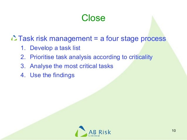 Close Task risk management = a four stage process 1. Develop a task list 2. Prioritise task analysis according to critical...