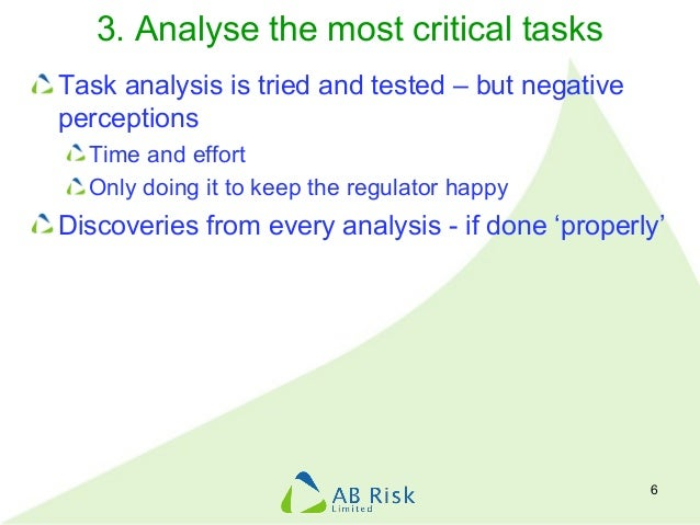 3. Analyse the most critical tasks Task analysis is tried and tested – but negative perceptions Time and effort Only doing...