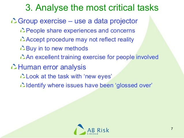 3. Analyse the most critical tasks Group exercise – use a data projector People share experiences and concerns Accept proc...