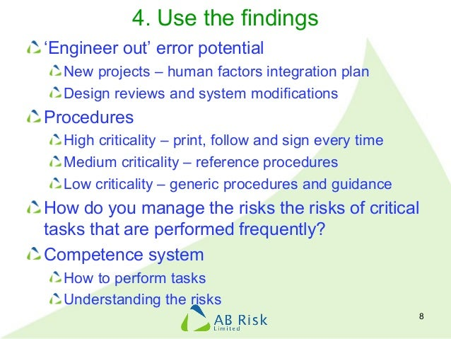 4. Use the findings 'Engineer out' error potential New projects – human factors integration plan Design reviews and system...