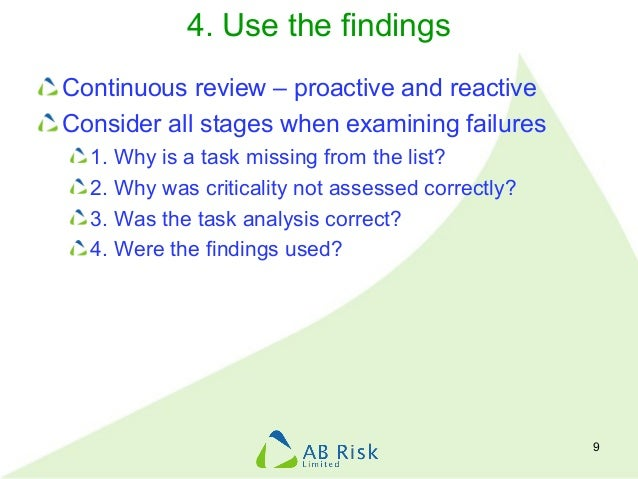 4. Use the findings Continuous review – proactive and reactive Consider all stages when examining failures 1. Why is a tas...