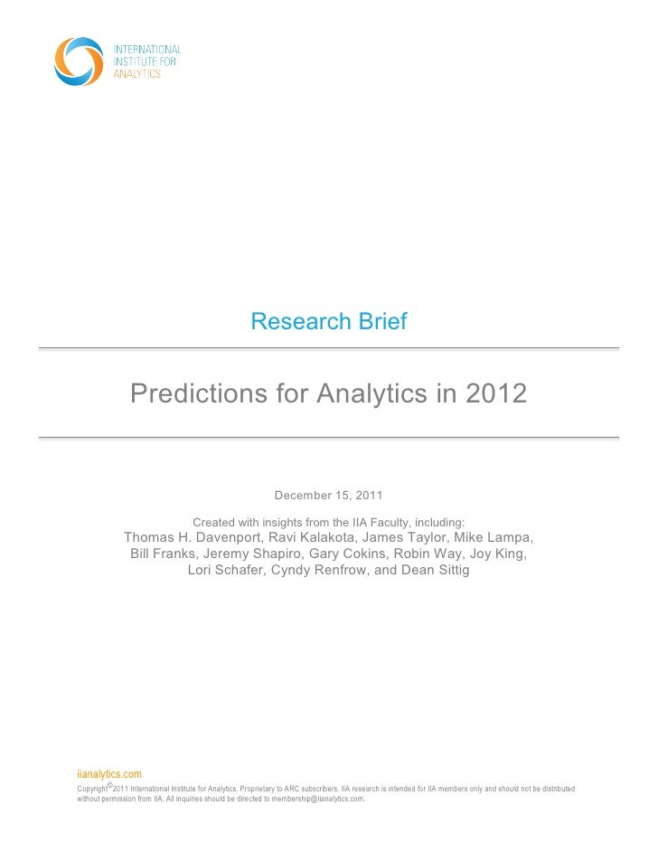 Research Brief                 Predictions for Analytics in 2012                                                          ...