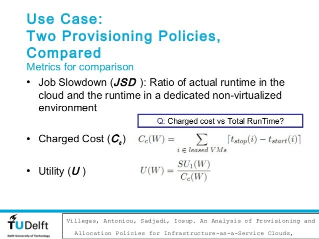 Use Case:Two Provisioning Policies,ComparedMetrics for comparison• Job Slowdown (JSD ): Ratio of actual runtime in the  cl...