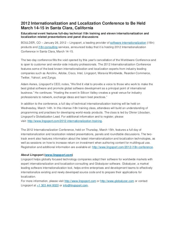 2012 Internationalization and Localization Conference to Be HeldMarch 14-15 in Santa Clara, CaliforniaEducational event fe...