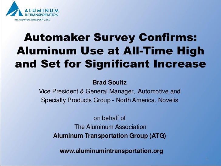 Automaker Survey Confirms:Aluminum Use at All-Time Highand Set for Significant Increase                       Brad Soultz ...