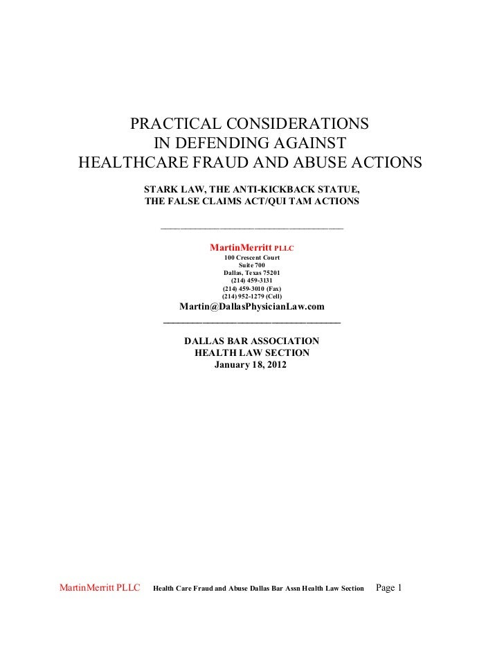 PRACTICAL CONSIDERATIONS           IN DEFENDING AGAINST    HEALTHCARE FRAUD AND ABUSE ACTIONS                     STARK LA...