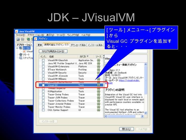 JDK – JVisualVM  [ ツール ] メニュー-> [ プラグイン ] から Visual GC  プラグインを追加すると・・・