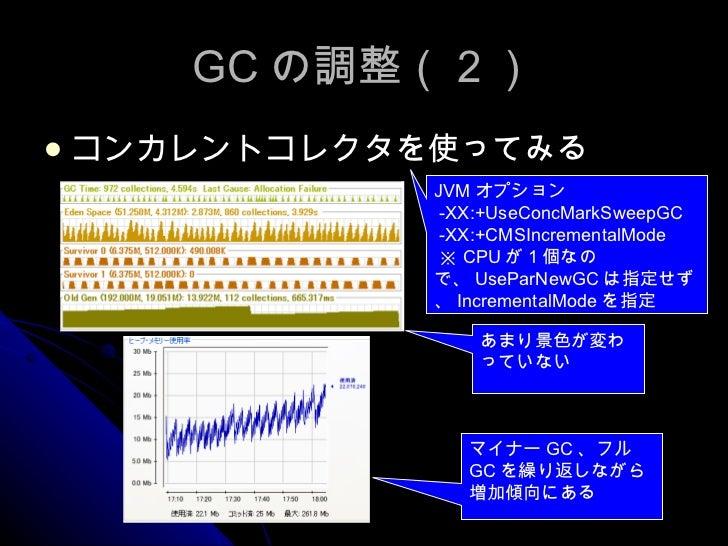 GC の調整(2) <ul><li>コンカレントコレクタを使ってみる </li></ul>あまり景色が変わっていない マイナー GC 、フル GC を繰り返しながら増加傾向にある JVM オプション -XX:+UseConcMarkSweepG...