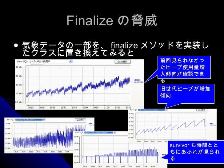 Finalize の脅威 <ul><li>気象データの一部を、 finalize メソッドを実装したクラスに置き換えてみると </li></ul>前回見られなかったヒープ使用量増大傾向が確認できる 旧世代ヒープが増加傾向 survivor も時...
