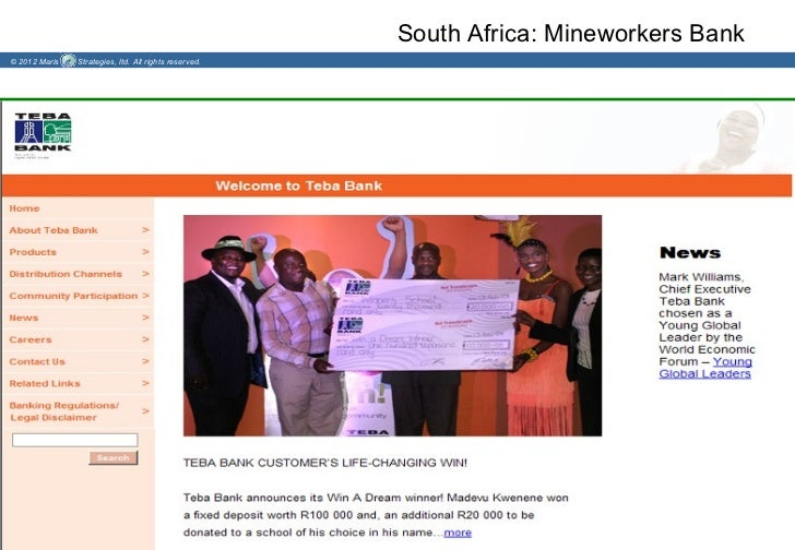 South Africa: Mineworkers Bank© 2012 Maris   Strategies, ltd. All rights reserved.