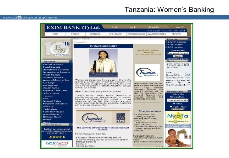Tanzania: Women's Banking© 2012 Maris   Strategies, ltd. All rights reserved.