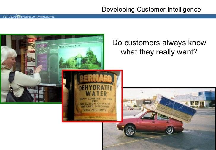 Developing Customer Intelligence© 2012 Maris   Strategies, ltd. All rights reserved.                                      ...