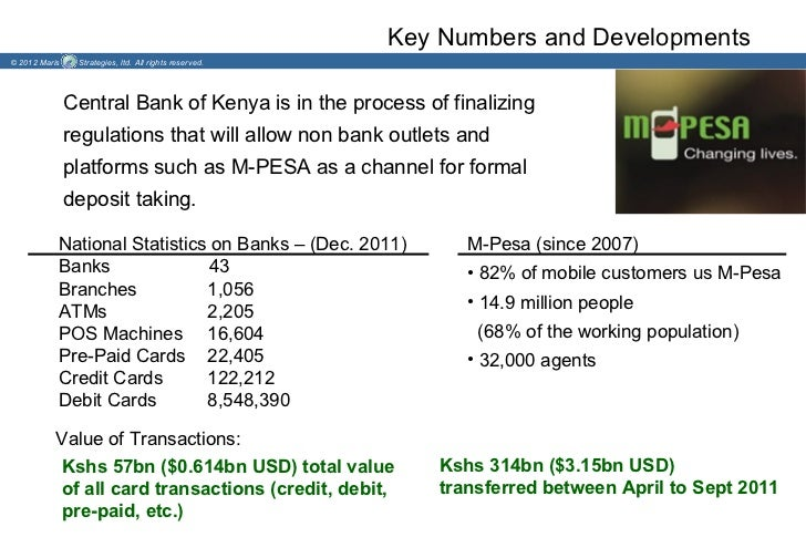 Key Numbers and Developments© 2012 Maris    Strategies, ltd. All rights reserved.               Central Bank of Kenya is i...