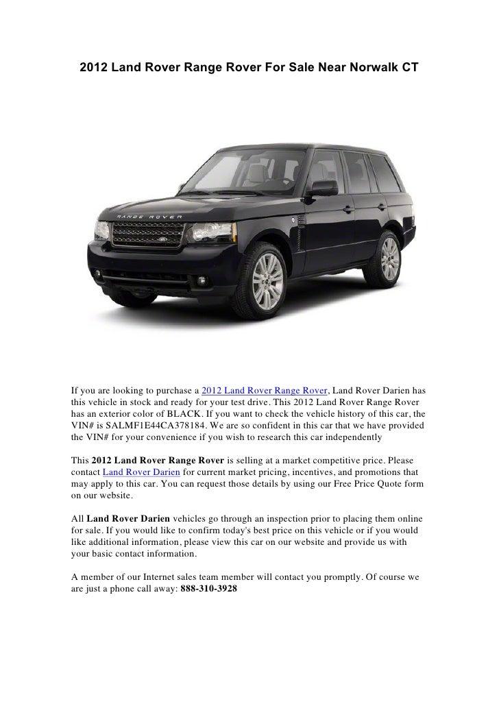 2012 land rover range rover for sale near norwalk ct. Black Bedroom Furniture Sets. Home Design Ideas