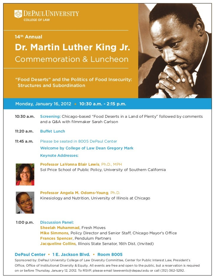 """14th AnnualDr. Martin Luther King Jr.Commemoration & Luncheon""""Food Deserts"""" and the Politics of Food Insecurity: Structure..."""