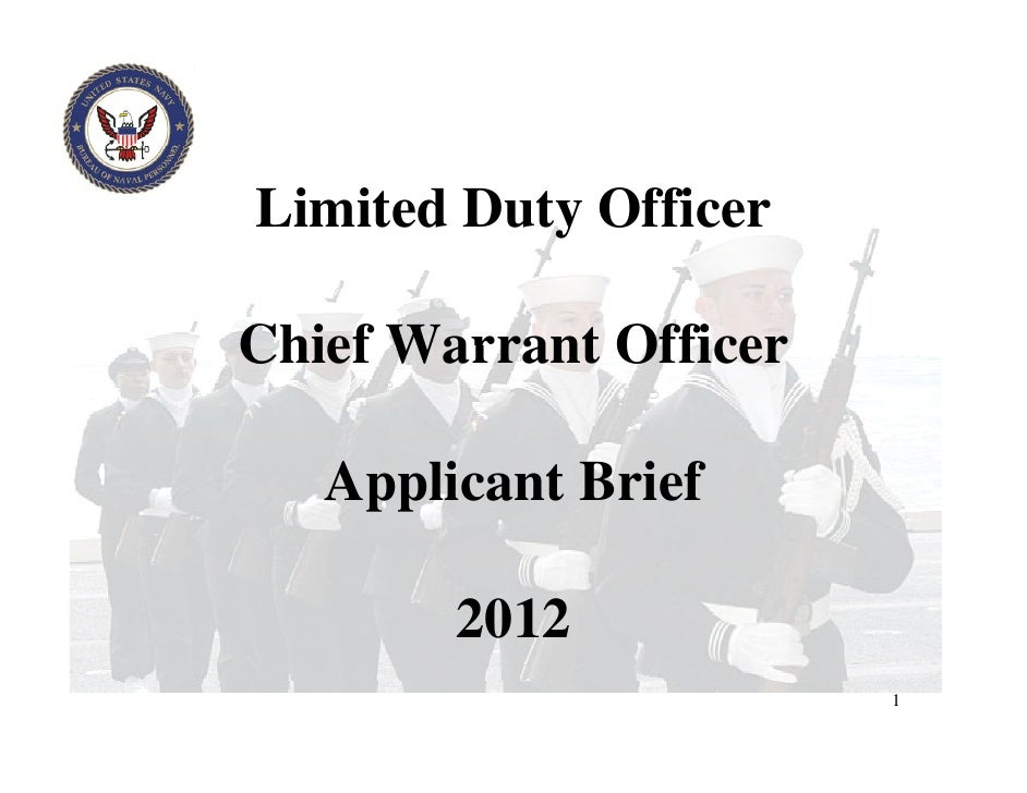 Limited Duty OfficerChief Warrant Officer   Applicant Brief        2012                        1