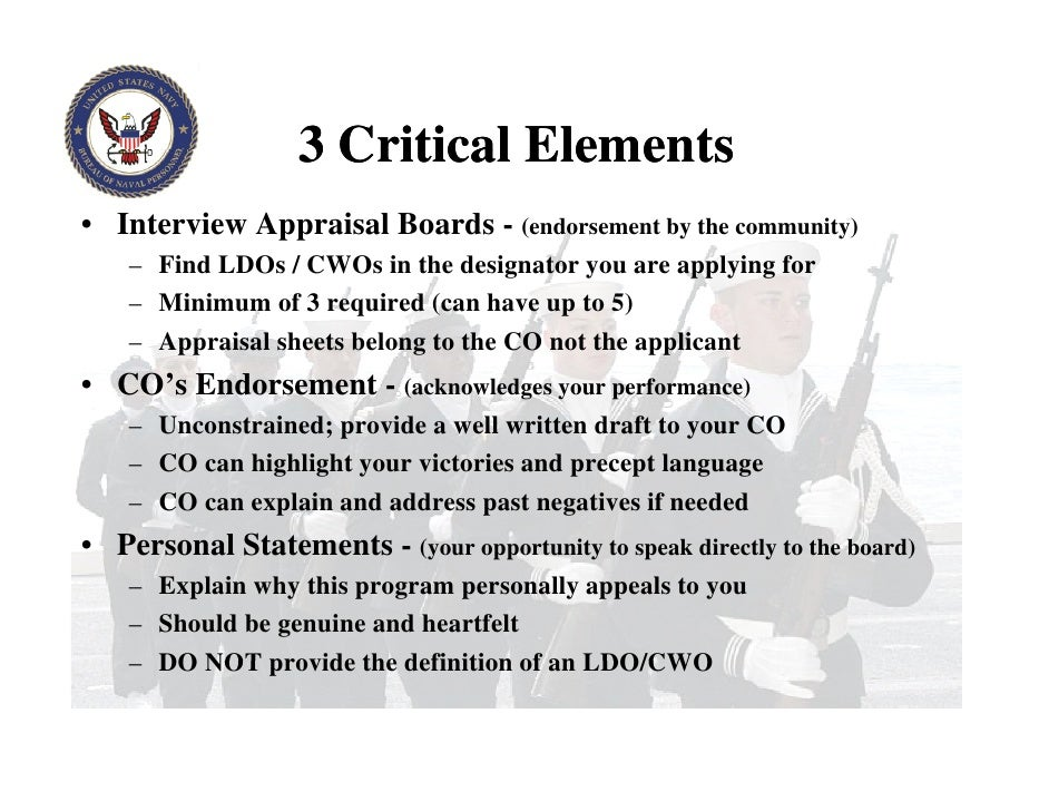 ldo/cwo personal statement examples