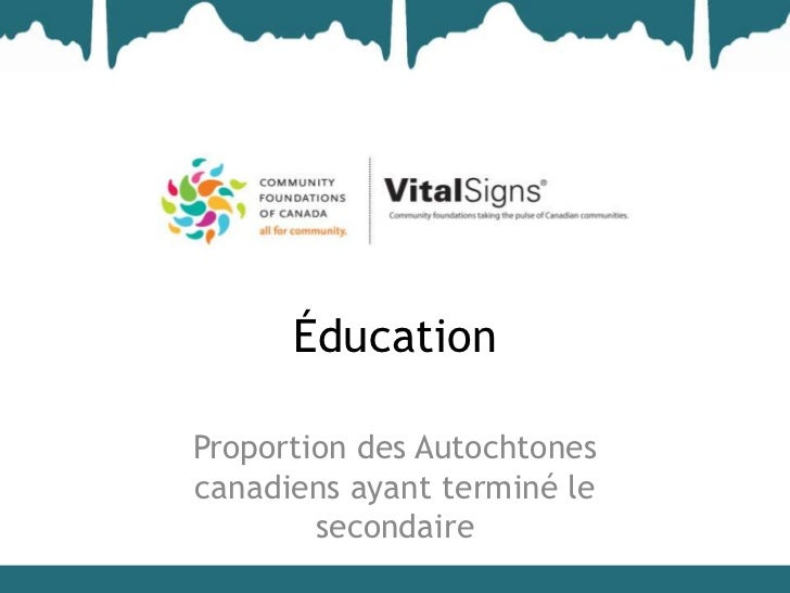 ÉducationProportion des Autochtonescanadiens ayant terminé le        secondaire
