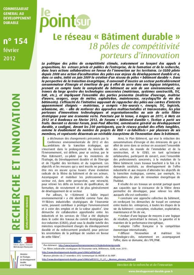RECHERCHEETINNOVATION Direction de la recherche et de l'innovation www.developpement-durable.gouv.fr DÉVELOPPEMENTDURABLE ...