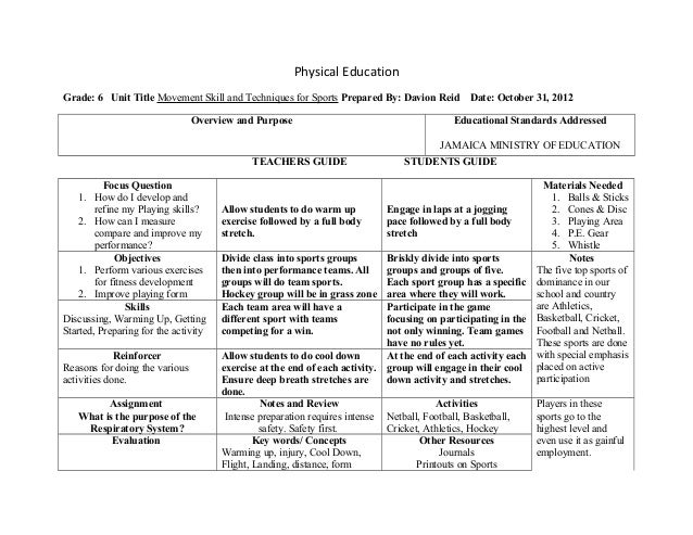 2012 lesson plan g6 october 31 for Sports lesson plan template