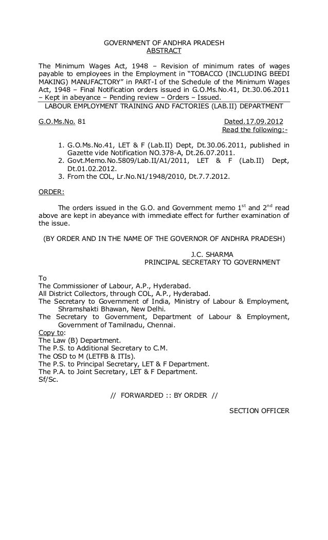 GOVERNMENT OF ANDHRA PRADESH ABSTRACT The Minimum Wages Act, 1948 – Revision of minimum rates of wages payable to employee...