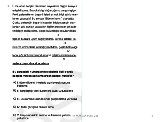 12012 LYS EDEBİYAT SORULARI
