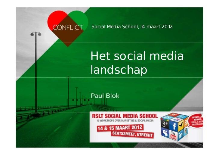 Social Media School, 14 maart 2012                                       Het social media                                 ...