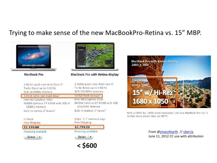 """Trying to make sense of the new MacBookPro-Retina vs. 15"""" MBP.                                            From @jmacofeart..."""