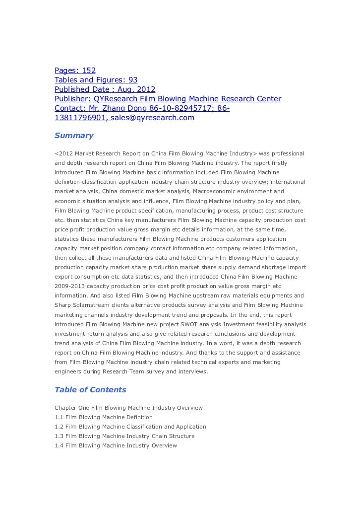 Pages: 152Tables and Figures: 93Published Date : Aug, 2012Publisher: QYResearch Film Blowing Machine Research CenterContac...